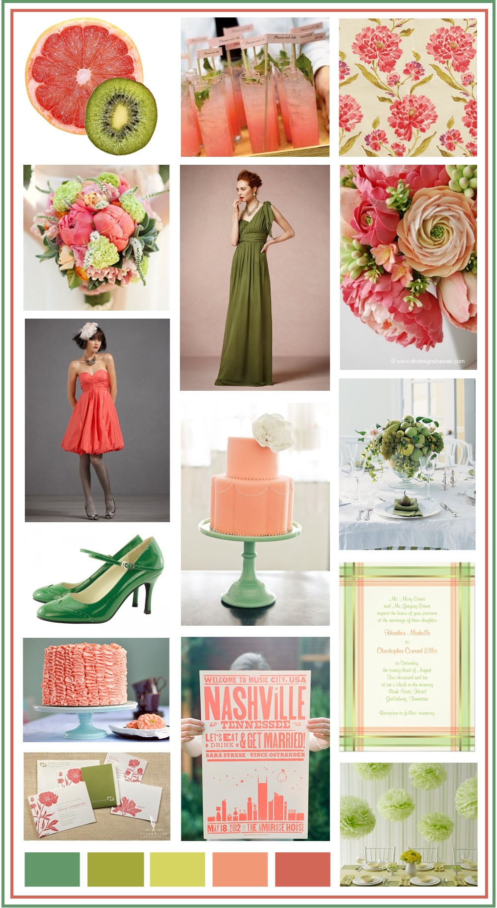 Weddings using coral and green