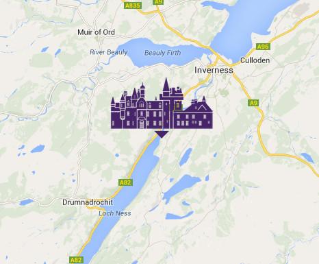Map to Aldourie Castle