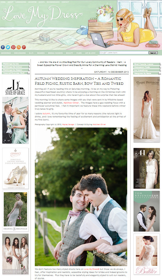 Matthew Oliver on Love My Dress Wedding Blog