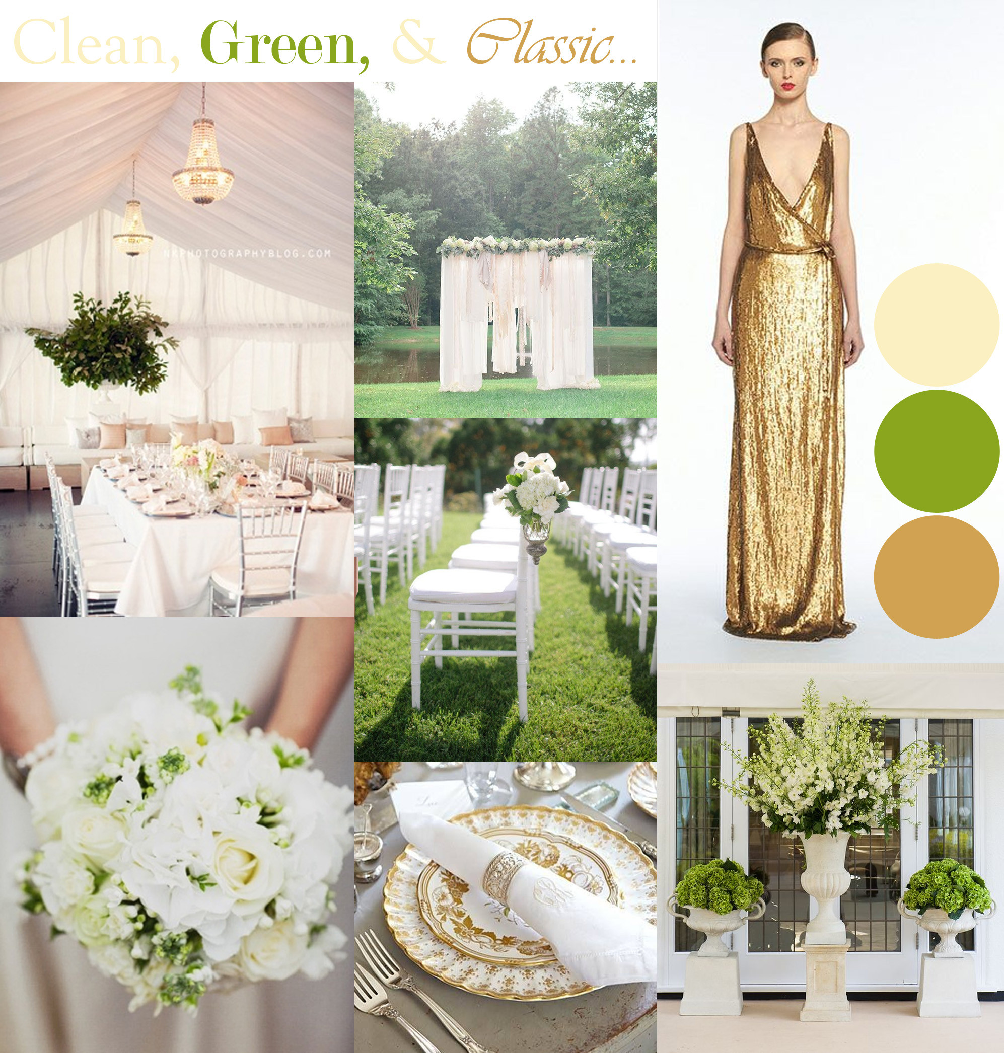 Clean, Green & Classic Wedding Design