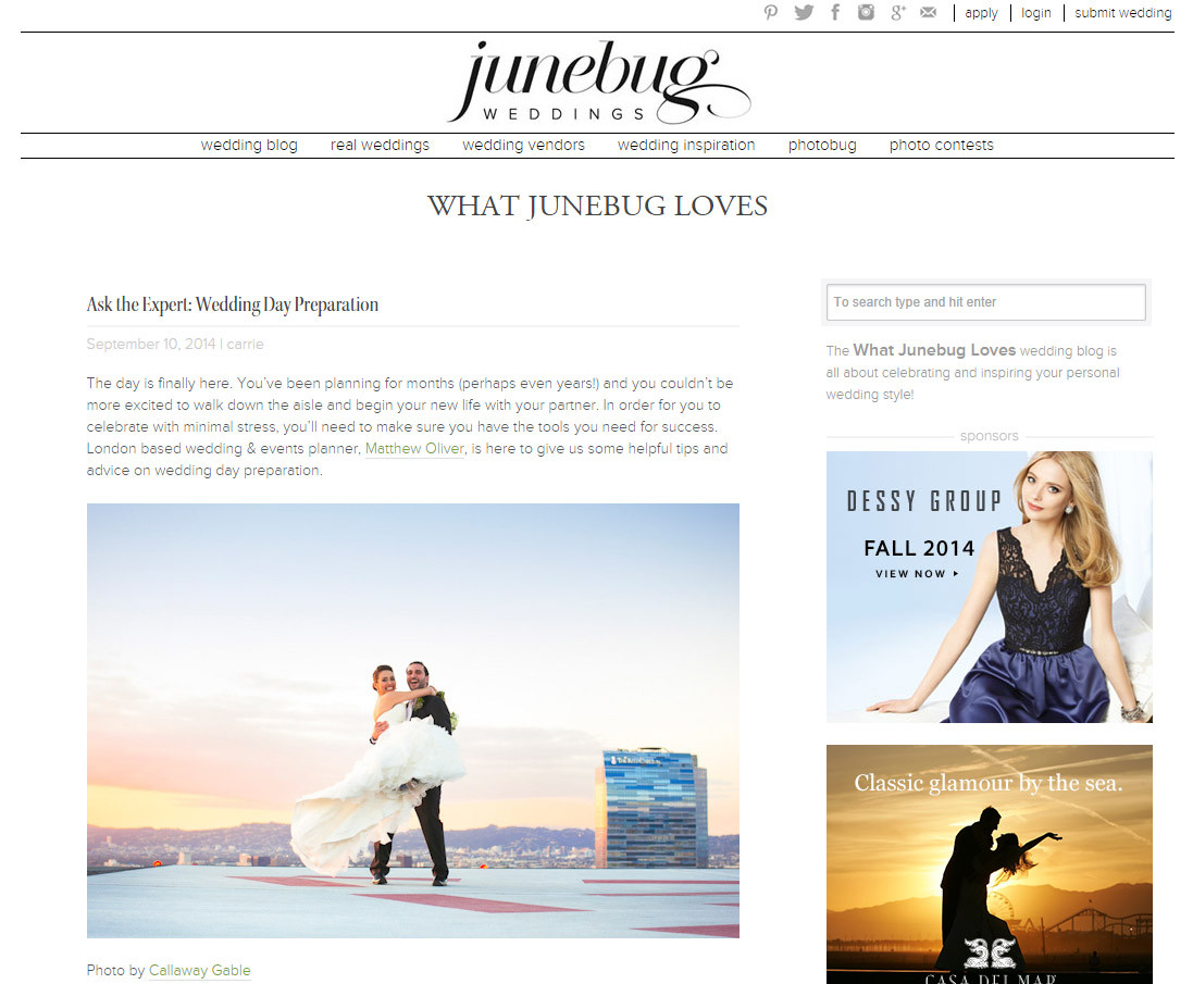 Matthew Oliver Featured on Junebug Weddings